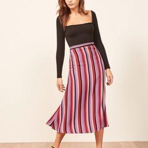 Reformation Bea striped midi skirt NWT